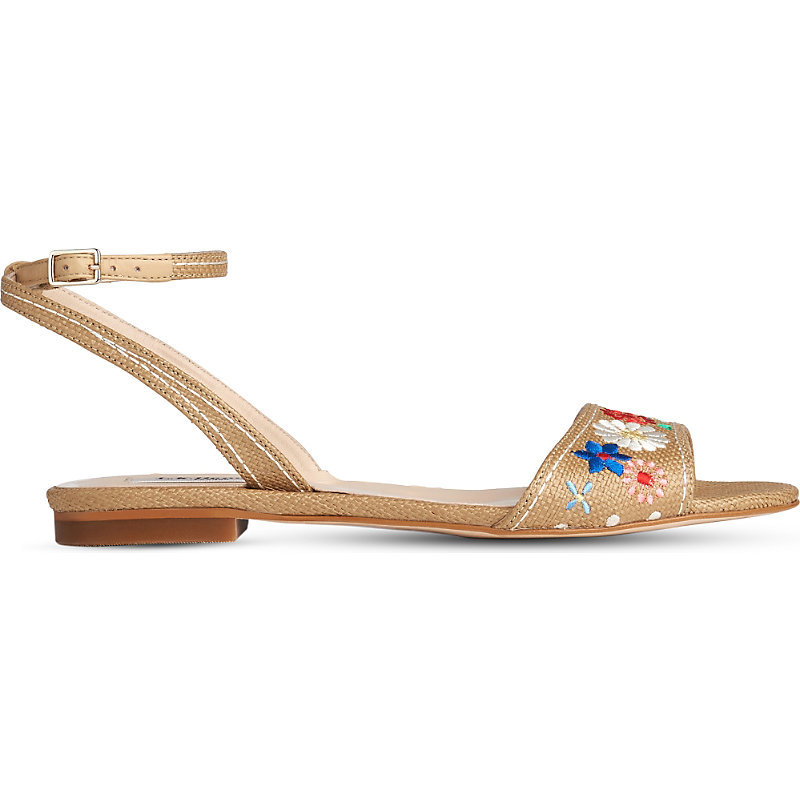 Eve Floral Embroidered Woven Sandals - predominant colour: camel; occasions: casual, holiday; material: leather; heel height: flat; embellishment: embroidered; ankle detail: ankle strap; heel: standard; toe: open toe/peeptoe; style: standard; finish: plain; pattern: plain; season: s/s 2016; wardrobe: highlight