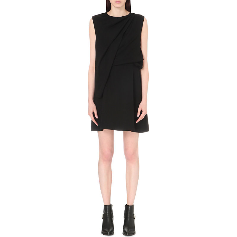 Draped Crepe Dress, Women's, Black - style: shift; length: mid thigh; pattern: plain; sleeve style: sleeveless; bust detail: subtle bust detail; predominant colour: black; occasions: evening; fit: body skimming; fibres: polyester/polyamide - 100%; neckline: crew; sleeve length: sleeveless; texture group: crepes; pattern type: fabric; season: s/s 2016; wardrobe: event