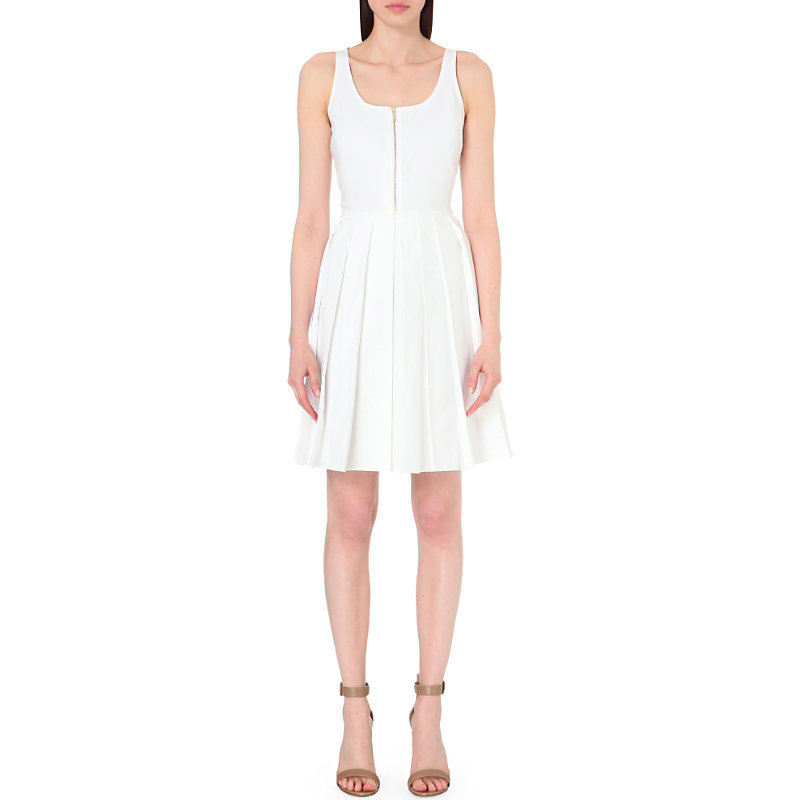 Pleated Stretch Cotton Dress, Women's, White - neckline: round neck; pattern: plain; sleeve style: sleeveless; predominant colour: white; occasions: evening; length: just above the knee; fit: fitted at waist & bust; style: fit & flare; fibres: cotton - stretch; sleeve length: sleeveless; pattern type: fabric; texture group: jersey - stretchy/drapey; season: s/s 2016; wardrobe: event