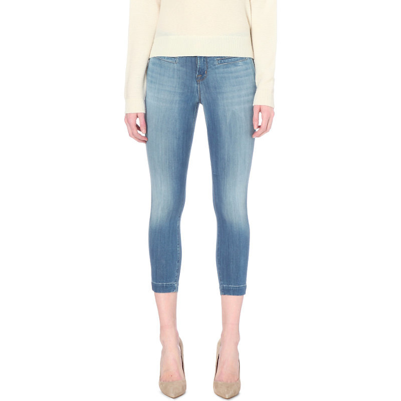 Skeyla Skinny Mid Rise Jeans, Women's, Defined - style: skinny leg; pattern: plain; pocket detail: traditional 5 pocket; waist: mid/regular rise; predominant colour: denim; occasions: casual; length: calf length; fibres: cotton - stretch; jeans detail: shading down centre of thigh; texture group: denim; pattern type: fabric; season: s/s 2016; wardrobe: basic