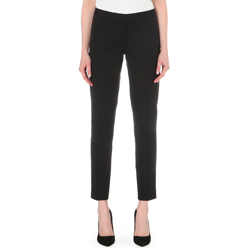 Miranda Cotton Blend Tapered Trousers, Women's, Black - pattern: plain; waist: mid/regular rise; predominant colour: black; occasions: work, creative work; length: ankle length; fibres: cotton - stretch; fit: slim leg; pattern type: fabric; texture group: woven light midweight; style: standard; season: s/s 2016; wardrobe: basic