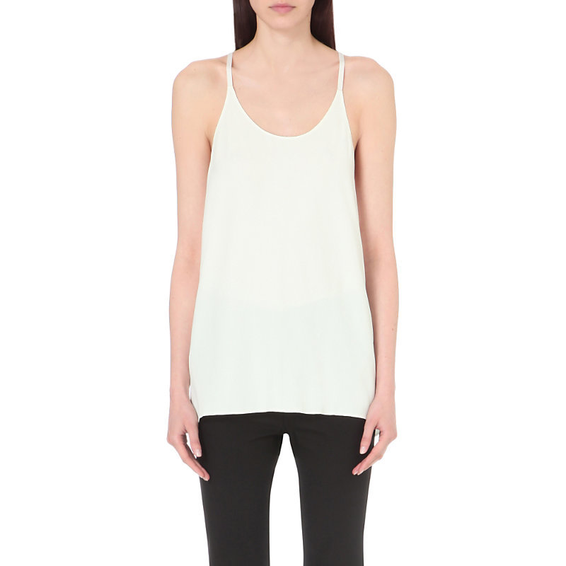 Open Back Crepe Top, Women's, Size: Small, White - sleeve style: spaghetti straps; pattern: plain; style: vest top; predominant colour: white; occasions: casual; length: standard; neckline: scoop; fibres: viscose/rayon - 100%; fit: body skimming; sleeve length: sleeveless; texture group: crepes; pattern type: fabric; season: s/s 2016; wardrobe: basic