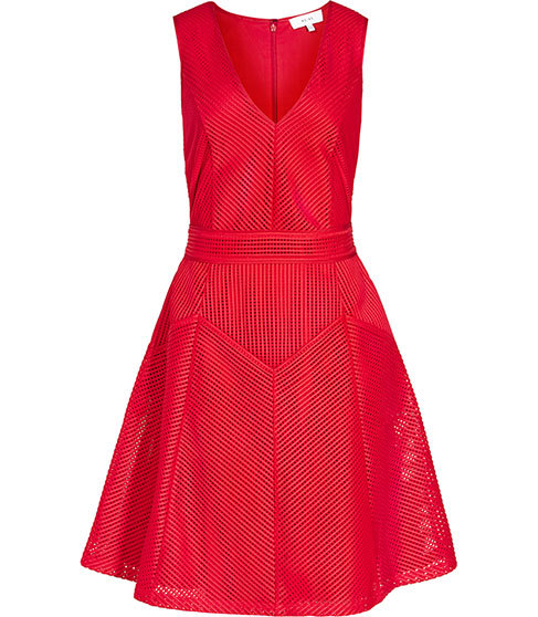 Topaz Textured Fit And Flare Dress - length: mid thigh; neckline: low v-neck; pattern: plain; sleeve style: sleeveless; predominant colour: true red; fit: fitted at waist & bust; style: fit & flare; fibres: polyester/polyamide - 100%; occasions: occasion; sleeve length: sleeveless; pattern type: fabric; texture group: other - light to midweight; season: s/s 2016; wardrobe: event