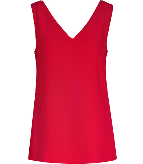 Jasmine Button Back Vest - neckline: low v-neck; pattern: plain; sleeve style: sleeveless; length: below the bottom; style: vest top; predominant colour: true red; occasions: casual; fibres: viscose/rayon - 100%; fit: body skimming; sleeve length: sleeveless; pattern type: fabric; texture group: other - light to midweight; season: s/s 2016; wardrobe: highlight