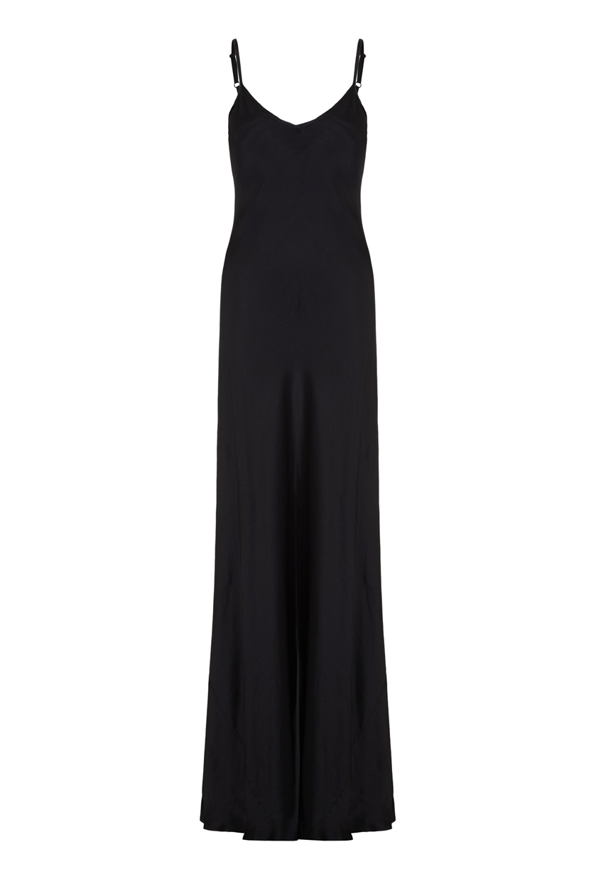 Mel Dress Satin Black - neckline: low v-neck; sleeve style: spaghetti straps; pattern: plain; style: maxi dress; predominant colour: black; occasions: evening; length: floor length; fit: body skimming; fibres: polyester/polyamide - 100%; sleeve length: sleeveless; pattern type: fabric; texture group: jersey - stretchy/drapey; season: s/s 2016