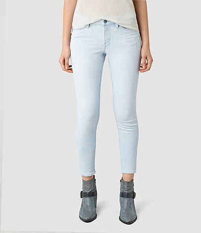 Mast Cropped Jeans - style: skinny leg; pattern: plain; pocket detail: traditional 5 pocket; waist: mid/regular rise; predominant colour: pale blue; occasions: casual; length: ankle length; fibres: cotton - stretch; texture group: denim; pattern type: fabric; season: s/s 2016