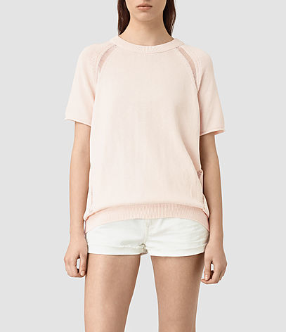 Lanta Knitted Tee - neckline: round neck; sleeve style: raglan; pattern: plain; style: t-shirt; predominant colour: blush; occasions: casual, creative work; length: standard; fibres: cotton - 100%; fit: body skimming; sleeve length: short sleeve; texture group: knits/crochet; pattern type: knitted - fine stitch; season: s/s 2016; wardrobe: basic