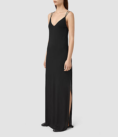 Faye Dress - neckline: low v-neck; sleeve style: spaghetti straps; pattern: plain; predominant colour: black; occasions: evening, holiday; length: floor length; fit: soft a-line; style: slip dress; fibres: polyester/polyamide - 100%; hip detail: slits at hip; sleeve length: sleeveless; texture group: crepes; pattern type: fabric; season: s/s 2016; wardrobe: investment