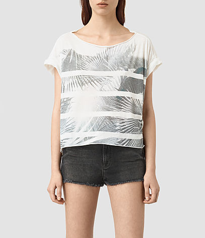 Java Pina Tee - neckline: round neck; style: t-shirt; predominant colour: white; occasions: casual; length: standard; fibres: cotton - mix; fit: straight cut; sleeve length: short sleeve; sleeve style: standard; pattern type: fabric; pattern: florals; texture group: jersey - stretchy/drapey; pattern size: big & busy (top); season: s/s 2016; wardrobe: highlight