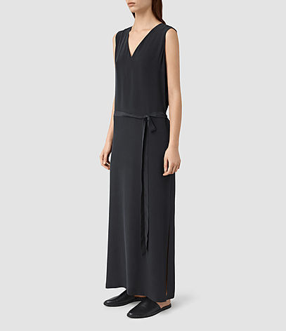 Lavinia Silk Dress - neckline: low v-neck; pattern: plain; sleeve style: sleeveless; style: maxi dress; length: ankle length; waist detail: belted waist/tie at waist/drawstring; predominant colour: navy; occasions: casual; fit: straight cut; fibres: silk - 100%; sleeve length: sleeveless; texture group: silky - light; pattern type: fabric; season: s/s 2016; wardrobe: basic