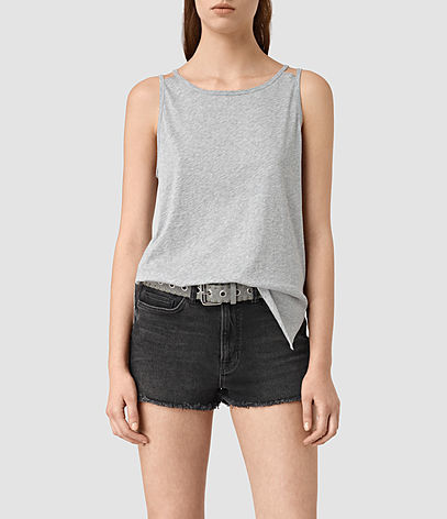 Lee Tank - neckline: round neck; pattern: plain; sleeve style: sleeveless; style: vest top; predominant colour: light grey; occasions: casual; length: standard; fibres: cotton - 100%; fit: body skimming; sleeve length: sleeveless; pattern type: fabric; texture group: jersey - stretchy/drapey; season: s/s 2016; wardrobe: basic