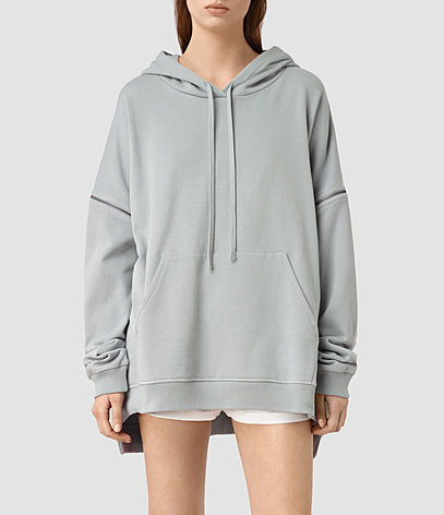 Graded Lo Hoody - pattern: plain; neckline: high neck; length: below the bottom; back detail: hood; style: standard, hoody; predominant colour: light grey; occasions: casual, activity; fibres: cotton - 100%; fit: loose; sleeve length: long sleeve; sleeve style: standard; pattern type: fabric; texture group: other - light to midweight; season: s/s 2016