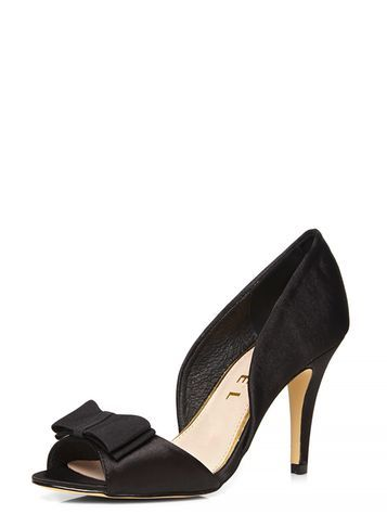 Womens **Ravel Black Peep Toe Court Shoes Black - predominant colour: black; occasions: evening, occasion; material: fabric; heel height: high; heel: stiletto; toe: open toe/peeptoe; style: courts; finish: plain; pattern: plain; embellishment: bow; season: s/s 2016; wardrobe: event