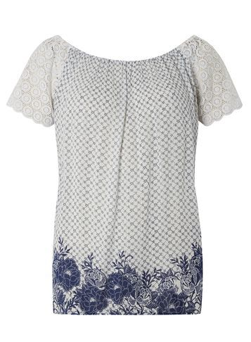 Womens **Tall Border Print Bardot Top Blue - neckline: off the shoulder; predominant colour: white; secondary colour: navy; occasions: casual; length: standard; style: top; fibres: viscose/rayon - 100%; fit: body skimming; sleeve length: short sleeve; sleeve style: standard; pattern type: fabric; pattern size: standard; pattern: florals; texture group: jersey - stretchy/drapey; multicoloured: multicoloured; season: s/s 2016