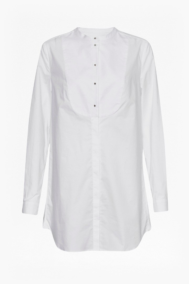 Southside Cotton Bib Shirt Winter White - pattern: plain; length: below the bottom; style: shirt; predominant colour: white; occasions: casual, creative work; neckline: collarstand; fibres: cotton - stretch; fit: body skimming; sleeve length: long sleeve; sleeve style: standard; texture group: cotton feel fabrics; pattern type: fabric; season: s/s 2016; wardrobe: basic