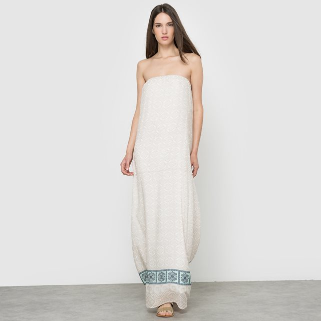 Strapless Maxi Dress - neckline: strapless (straight/sweetheart); style: maxi dress; sleeve style: strapless; predominant colour: ivory/cream; secondary colour: pale blue; occasions: evening; length: floor length; fit: body skimming; fibres: viscose/rayon - 100%; sleeve length: sleeveless; pattern type: fabric; pattern: patterned/print; texture group: jersey - stretchy/drapey; multicoloured: multicoloured; season: s/s 2016; wardrobe: event