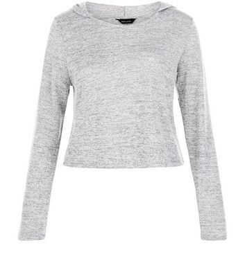 Pale Grey Fine Knit Crop Hooded Sweater - neckline: round neck; pattern: plain; back detail: hood; style: standard, hoody; predominant colour: light grey; occasions: casual; length: standard; fibres: polyester/polyamide - stretch; fit: slim fit; sleeve length: long sleeve; sleeve style: standard; pattern type: fabric; texture group: jersey - stretchy/drapey; season: s/s 2016