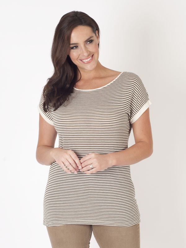 Ams Pure Stripe Jersey Top - pattern: horizontal stripes; style: t-shirt; secondary colour: white; predominant colour: taupe; occasions: casual; length: standard; fibres: cotton - mix; fit: body skimming; neckline: crew; sleeve length: short sleeve; sleeve style: standard; pattern type: fabric; pattern size: standard; texture group: jersey - stretchy/drapey; multicoloured: multicoloured; season: s/s 2016; wardrobe: basic