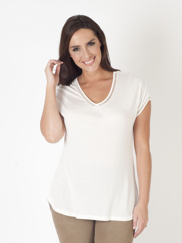 Ams Jersey Top With Faggoting And Silk Trim - neckline: v-neck; pattern: plain; style: t-shirt; predominant colour: white; occasions: casual; length: standard; fibres: silk - 100%; fit: body skimming; sleeve length: short sleeve; sleeve style: standard; pattern type: fabric; texture group: jersey - stretchy/drapey; season: s/s 2016; wardrobe: basic