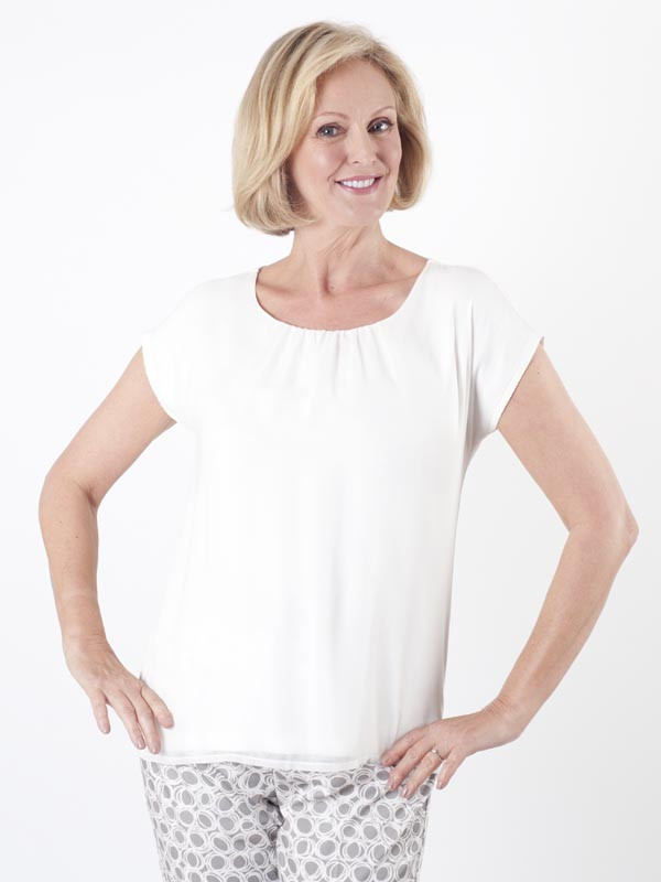 Taifun Ivory Two Layer Top - pattern: plain; predominant colour: white; occasions: casual; length: standard; style: top; fibres: viscose/rayon - stretch; fit: body skimming; neckline: crew; sleeve length: short sleeve; sleeve style: standard; pattern type: fabric; texture group: jersey - stretchy/drapey; season: s/s 2016; wardrobe: basic