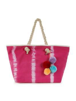 Tie Dye Pom Pom Tassel Beach Bag - predominant colour: hot pink; occasions: casual, holiday; type of pattern: standard; style: tote; length: handle; size: oversized; material: fabric; pattern: tie dye; finish: plain; embellishment: pompom; season: s/s 2016; wardrobe: highlight