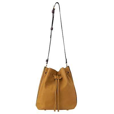 Everett Leather Drawstring Bag - predominant colour: mustard; secondary colour: black; occasions: casual, creative work; type of pattern: standard; style: shoulder; length: across body/long; size: small; material: leather; pattern: plain; finish: plain; season: s/s 2016; wardrobe: highlight