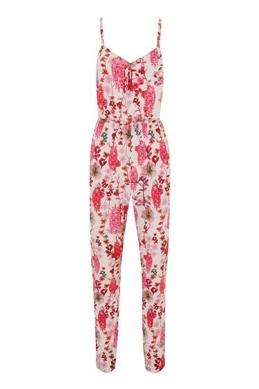 Hermione De Paula Pink Floral Jumpsuit - length: standard; neckline: v-neck; sleeve style: sleeveless; waist detail: belted waist/tie at waist/drawstring; predominant colour: blush; secondary colour: hot pink; occasions: casual, evening, holiday; fit: body skimming; fibres: polyester/polyamide - 100%; sleeve length: sleeveless; style: jumpsuit; pattern type: fabric; pattern: florals; texture group: jersey - stretchy/drapey; multicoloured: multicoloured; season: s/s 2016; wardrobe: highlight