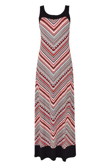 Printed Blocked Tribal Maxi Dress - neckline: round neck; sleeve style: sleeveless; style: maxi dress; length: ankle length; predominant colour: true red; secondary colour: light grey; fit: body skimming; fibres: viscose/rayon - 100%; sleeve length: sleeveless; occasions: holiday; pattern type: fabric; pattern: patterned/print; texture group: jersey - stretchy/drapey; multicoloured: multicoloured; season: s/s 2016; wardrobe: holiday