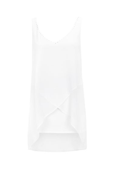 Ivory Asymmetric Hem Vest Top - neckline: v-neck; pattern: plain; sleeve style: sleeveless; length: below the bottom; style: vest top; predominant colour: white; occasions: casual, evening, holiday; fibres: polyester/polyamide - 100%; fit: body skimming; sleeve length: sleeveless; pattern type: fabric; texture group: other - light to midweight; season: s/s 2016; wardrobe: basic
