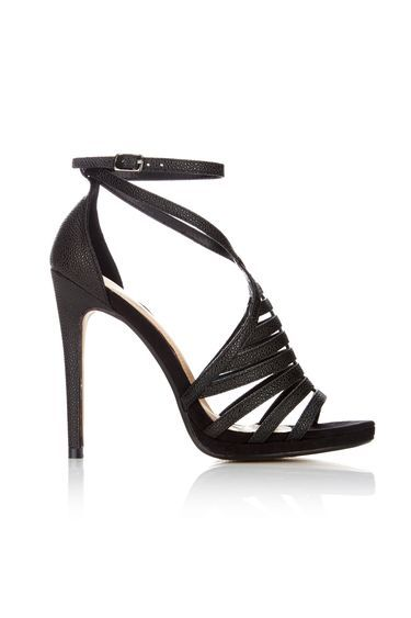 Black Caged Stiletto Sandal - predominant colour: black; occasions: evening; embellishment: glitter; ankle detail: ankle strap; heel: stiletto; toe: open toe/peeptoe; style: strappy; finish: plain; pattern: plain; heel height: very high; material: faux suede; shoe detail: platform; season: s/s 2016; wardrobe: event
