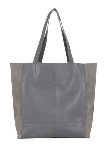 Leather Unlined Shopper Bag - predominant colour: mid grey; occasions: casual, creative work; type of pattern: standard; style: shoulder; length: shoulder (tucks under arm); size: standard; material: faux leather; pattern: plain; finish: plain; season: s/s 2016; wardrobe: investment