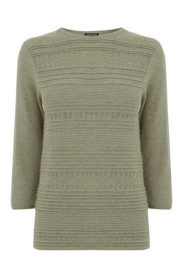 Pretty Stitch Crew Jumper - neckline: round neck; pattern: plain; style: standard; predominant colour: khaki; occasions: casual, creative work; length: standard; fibres: cotton - mix; fit: standard fit; sleeve length: 3/4 length; sleeve style: standard; texture group: knits/crochet; pattern type: knitted - fine stitch; season: s/s 2016