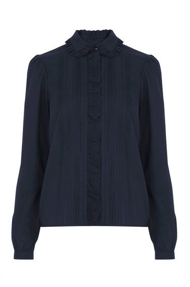 Lace Collar Ruffle Shirt - neckline: shirt collar/peter pan/zip with opening; pattern: plain; style: shirt; bust detail: subtle bust detail; predominant colour: navy; occasions: casual, creative work; length: standard; fibres: cotton - 100%; fit: straight cut; sleeve length: long sleeve; sleeve style: standard; texture group: cotton feel fabrics; pattern type: fabric; season: s/s 2016; wardrobe: basic