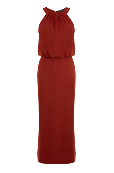 High Neck Midi Dress - pattern: plain; sleeve style: sleeveless; style: maxi dress; length: ankle length; fit: body skimming; fibres: viscose/rayon - stretch; occasions: occasion; neckline: crew; sleeve length: sleeveless; texture group: crepes; pattern type: fabric; predominant colour: raspberry; season: s/s 2016; wardrobe: event