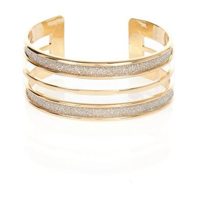 Womens Gold Tone Glitter Multi Row Bangle - predominant colour: gold; occasions: evening, occasion; style: cuff; size: large/oversized; material: chain/metal; finish: metallic; embellishment: crystals/glass; season: s/s 2016; wardrobe: event