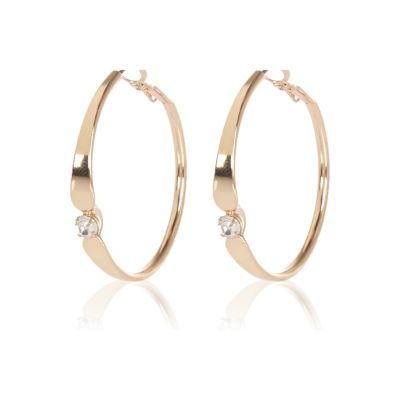 Womens Gold Tone Gem Encrusted Hoop Earrings - predominant colour: gold; occasions: evening, occasion; style: hoop; length: mid; size: standard; material: chain/metal; fastening: pierced; finish: metallic; embellishment: crystals/glass; season: s/s 2016