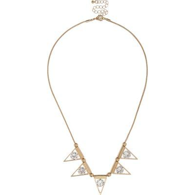 Womens Gold Tone Glass Triangle Necklace - predominant colour: gold; occasions: evening, occasion; length: mid; size: standard; material: chain/metal; finish: plain; embellishment: crystals/glass; style: bib/statement; season: s/s 2016; wardrobe: event