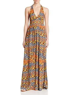 Kaliso Printed Halter Maxi Dress - sleeve style: sleeveless; style: maxi dress; neckline: low halter neck; predominant colour: mustard; secondary colour: light grey; occasions: evening; length: floor length; fit: body skimming; fibres: viscose/rayon - 100%; sleeve length: sleeveless; pattern type: fabric; pattern: patterned/print; texture group: jersey - stretchy/drapey; multicoloured: multicoloured; season: s/s 2016