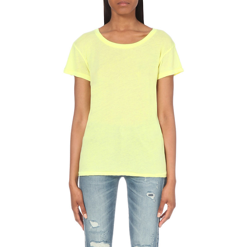 Take Me Somewhere Cotton Blend T Shirt, Women's, Size: Small, Neon Sign Yellow - pattern: plain; style: t-shirt; predominant colour: primrose yellow; occasions: casual; length: standard; fibres: cotton - mix; fit: body skimming; neckline: crew; sleeve length: short sleeve; sleeve style: standard; pattern type: fabric; texture group: jersey - stretchy/drapey; season: s/s 2016
