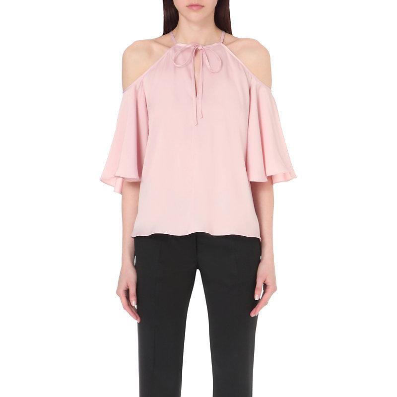 Cutout Shoulder Satin Top, Women's, Pink - pattern: plain; sleeve style: sleeveless; neckline: pussy bow; predominant colour: pink; occasions: casual, creative work; length: standard; style: top; fibres: silk - mix; fit: loose; sleeve length: sleeveless; texture group: silky - light; pattern type: fabric; season: s/s 2016; wardrobe: highlight