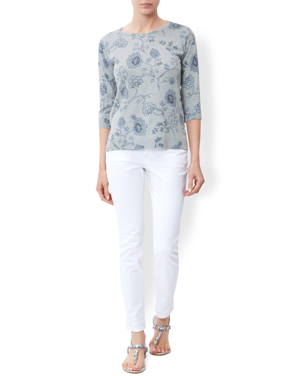 Felicity Printed Jumper - style: standard; predominant colour: pale blue; occasions: casual; length: standard; fibres: polyester/polyamide - mix; fit: slim fit; neckline: crew; sleeve length: 3/4 length; sleeve style: standard; texture group: knits/crochet; pattern type: knitted - fine stitch; pattern: florals; pattern size: big & busy (top); season: s/s 2016; wardrobe: highlight