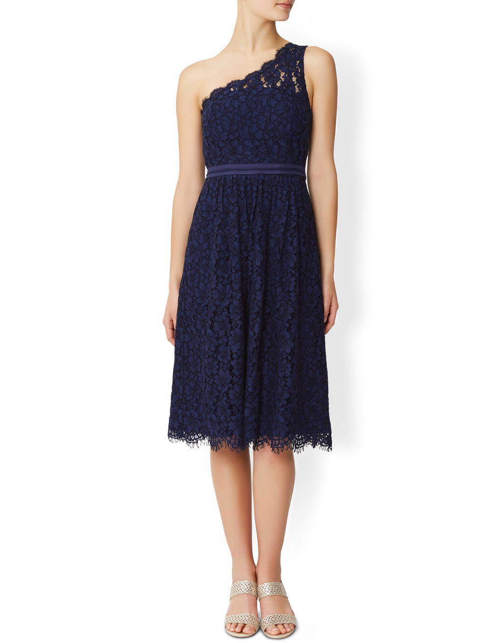Juniper Lace Dress - length: below the knee; sleeve style: sleeveless; style: asymmetric (top); neckline: asymmetric; predominant colour: navy; occasions: evening; fit: body skimming; fibres: polyester/polyamide - stretch; sleeve length: sleeveless; texture group: lace; pattern type: fabric; pattern size: standard; pattern: patterned/print; season: s/s 2016; wardrobe: event