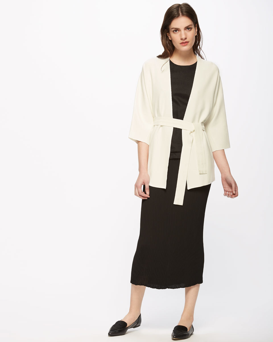 Belted Knit Kimono Jacket - pattern: plain; collar: round collar/collarless; fit: loose; length: below the bottom; predominant colour: ivory/cream; occasions: casual, creative work; fibres: polyester/polyamide - 100%; waist detail: belted waist/tie at waist/drawstring; sleeve length: 3/4 length; sleeve style: standard; texture group: knits/crochet; collar break: low/open; pattern type: knitted - fine stitch; style: fluid/kimono; season: s/s 2016; wardrobe: basic