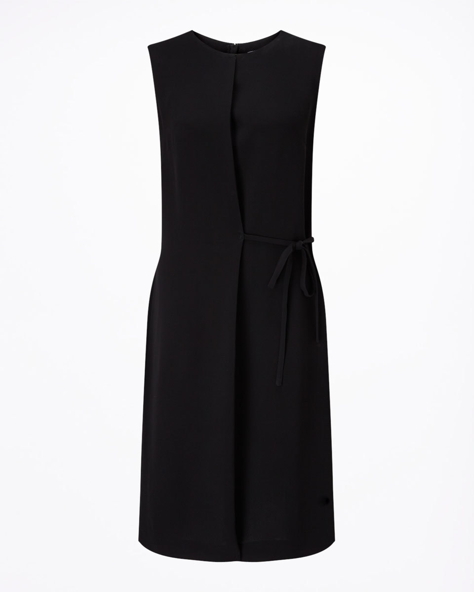 Tie Waist Dress - style: shift; pattern: plain; sleeve style: sleeveless; predominant colour: black; length: on the knee; fit: body skimming; fibres: viscose/rayon - 100%; neckline: crew; sleeve length: sleeveless; pattern type: fabric; texture group: other - light to midweight; occasions: creative work; season: s/s 2016; wardrobe: investment