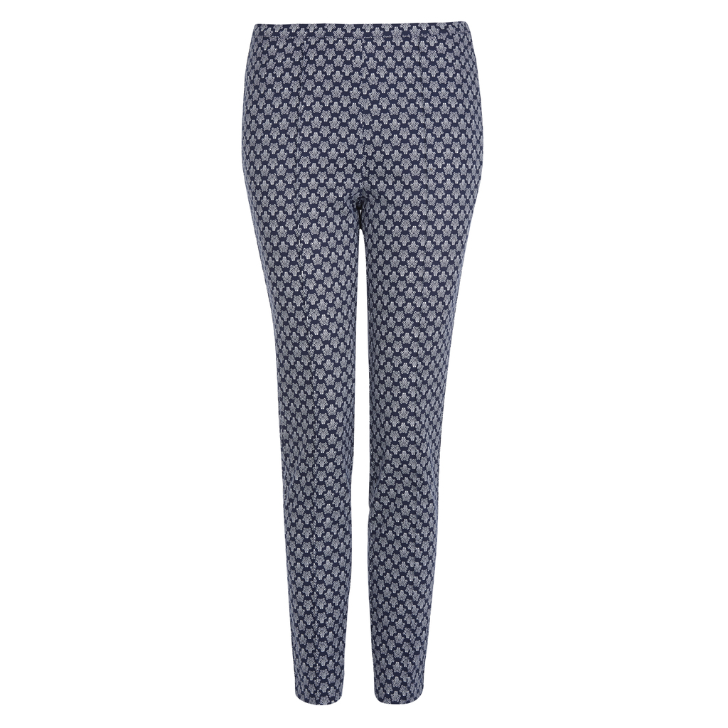 Heritage Print Ankle Grazer Trousers - waist: mid/regular rise; secondary colour: white; predominant colour: navy; occasions: casual; length: ankle length; fibres: cotton - stretch; texture group: cotton feel fabrics; fit: slim leg; pattern type: fabric; pattern: patterned/print; style: standard; season: s/s 2016