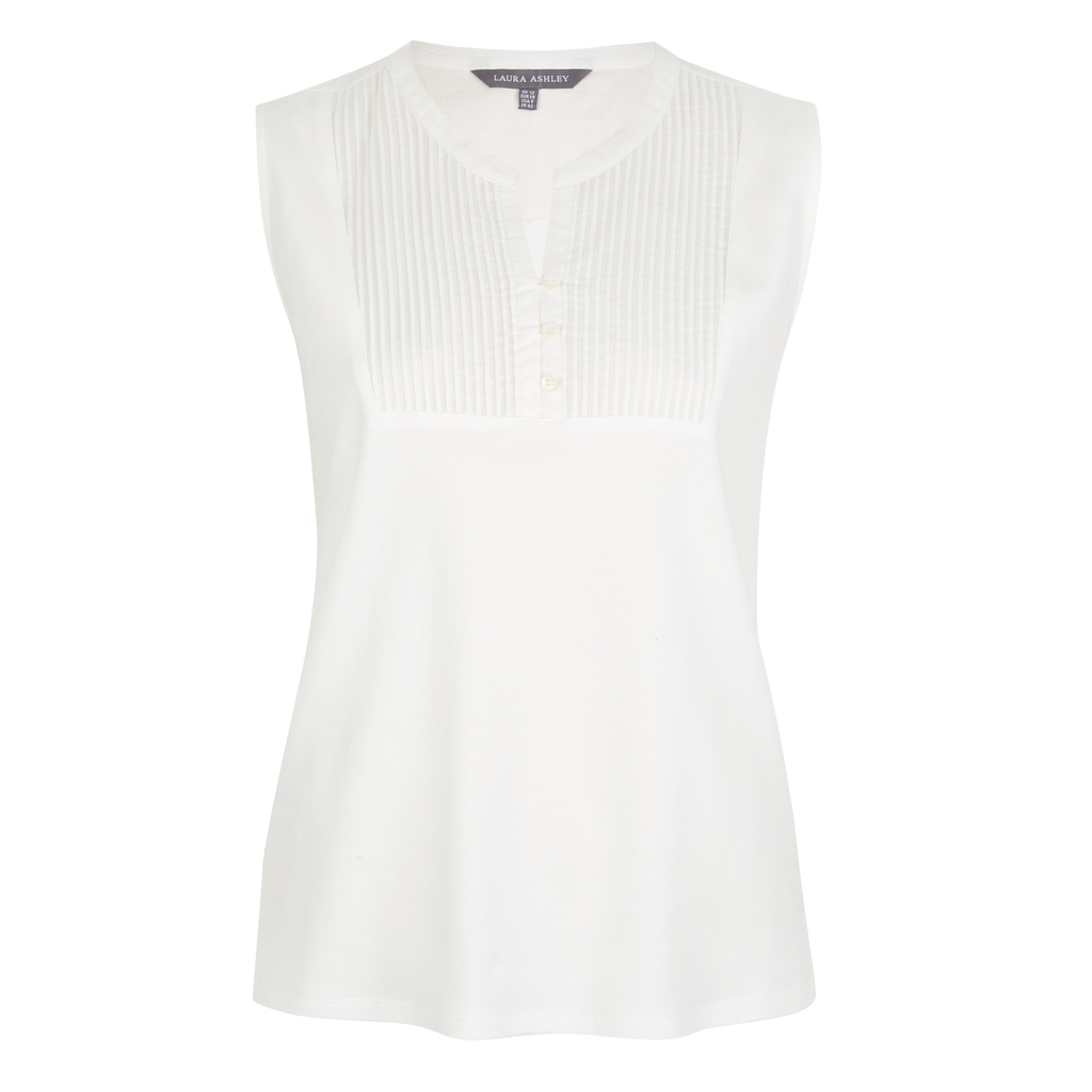Pintuck Woven Bib Vest Top - pattern: plain; sleeve style: sleeveless; bust detail: subtle bust detail; predominant colour: white; occasions: casual, creative work; length: standard; style: top; neckline: collarstand & mandarin with v-neck; fibres: cotton - 100%; fit: body skimming; sleeve length: sleeveless; pattern type: fabric; texture group: woven light midweight; season: s/s 2016; wardrobe: basic