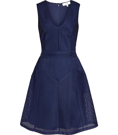 Topaz Textured Fit And Flare Dress - neckline: low v-neck; pattern: plain; sleeve style: sleeveless; predominant colour: navy; length: just above the knee; fit: fitted at waist & bust; style: fit & flare; fibres: polyester/polyamide - 100%; occasions: occasion; sleeve length: sleeveless; texture group: sheer fabrics/chiffon/organza etc.; pattern type: fabric; season: s/s 2016