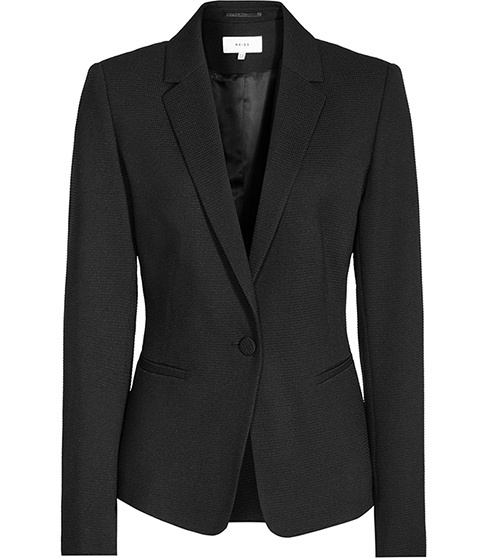 Hanneli Ruffle Back Jacket - pattern: plain; style: single breasted blazer; collar: standard lapel/rever collar; predominant colour: black; occasions: work; length: standard; fit: tailored/fitted; fibres: wool - mix; sleeve length: long sleeve; sleeve style: standard; collar break: medium; pattern type: fabric; texture group: other - light to midweight; season: s/s 2016; wardrobe: investment; embellishment location: back