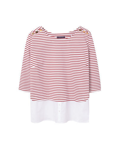 Mixed Cotton Sweatshirt - neckline: round neck; pattern: horizontal stripes; predominant colour: white; secondary colour: true red; occasions: casual; length: standard; style: top; fibres: cotton - 100%; fit: body skimming; sleeve length: 3/4 length; sleeve style: standard; pattern type: fabric; pattern size: standard; texture group: jersey - stretchy/drapey; multicoloured: multicoloured; season: s/s 2016; wardrobe: highlight