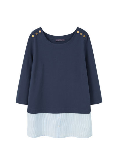 Mixed Cotton Sweatshirt - neckline: round neck; style: sweat top; secondary colour: pale blue; predominant colour: navy; occasions: casual; length: standard; fibres: cotton - 100%; fit: body skimming; sleeve length: 3/4 length; sleeve style: standard; pattern type: fabric; pattern size: standard; pattern: colourblock; texture group: other - light to midweight; multicoloured: multicoloured; season: s/s 2016; wardrobe: highlight
